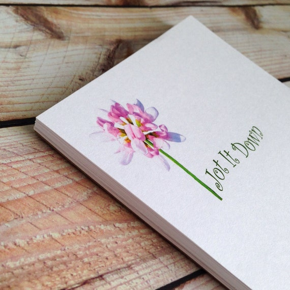 Flower notepad jot it down handmade paper pad mom or for Handmade paper creations