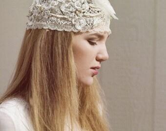 Ivory lace headpiece, bridal cap, Boho wedding, Bohemian wedding, floral headpiece, wedding headpiece, bridal lace headpiece,  Style 800