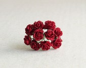 15mm Mini Red Paper Flowers - 10 mulberry paper roses with wire stems [102]