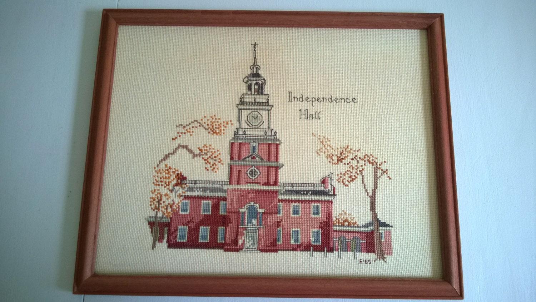 Vintage Independance Hall Cross Stitch Philadelphia Decor