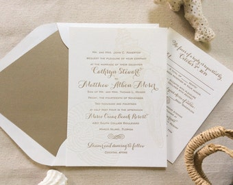 The Conch Suite - Classic Beach Letterpress Wedding Invitation Sample, Nautical, Seashells, Calligraphy, Gold, Sand, Modern, Traditional