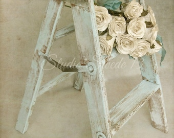 """French Country Photography, Country Kitchen Art, Rustic Old Step Stool Still Life, Romantic Farmhouse Art, Neutral Print-""""Forget Me Not"""""""