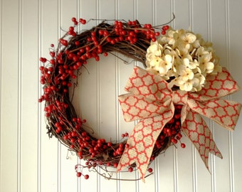 Red berry wreath for door. Valentine's day wreath. Valentine's day. wreath for door, front door wreath