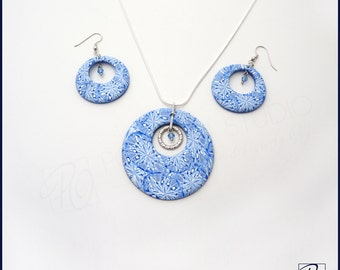 SALE Earrings and Pendant Necklace Blue White, Polymer Clay Jewelry, Hoop Earrings, Modern. Gift for her. Ready to ship.