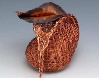 "Sculptural Vessel, ""Sinuosity"", woven vessel"