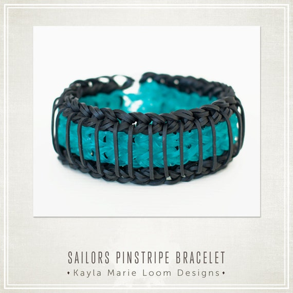 Items similar to Rainbow Loom Bracelet Sailors Pinstripe ...