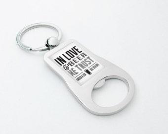 50pcs   Custom Bottle Opener Keychains - Personalized Wedding Favors - In Love & Beer We Trust