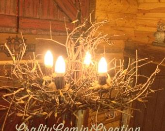 Ready to ship - Deer Lodge - Rustic Chandelier - 4 Light - Twig Light - Grapevine - Chandelier - Branchelier - OOAK - Woodland Series