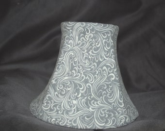 Custom Gray and White Scroll/Flourish/Damask Style Chandelier Lamp Shade