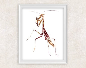 Praying Mantis Art Print - Watercolor Insect - Home Decor - Wall Art 8x10 PRINT - Item #702A