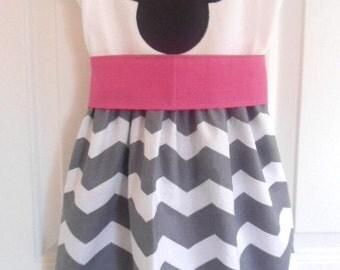 Custom Boutique Clothing Minnie Mouse Dress, Disney Dress, Girls Gray White Chevron Dress, Birthday Dress, Pink Sash, Custom Girls Dress