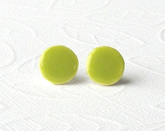 Small Green Earrings. Greenery. Round. Lime Green. Ceramic. Pear Green. Yellow-Green. Clay. Mini. Studs. Surgical Steel. Porcelain. Comfy