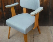 Vintage Mid Century Modern Thonet Upholstered Armchair in Icy Blue Rare Find