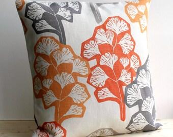 Contemporary Cushion Cover, Modern Pillow Cover, Orange Pillow Sham, Accent Pillow Cover - Gingko Orange