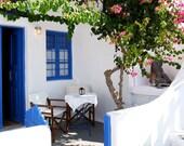 Santorini Greece Photography - Oia Photo - Cafe Photograph - Greek Islands Print Blue and White Decor Mediterranean Wall Art Fuschia