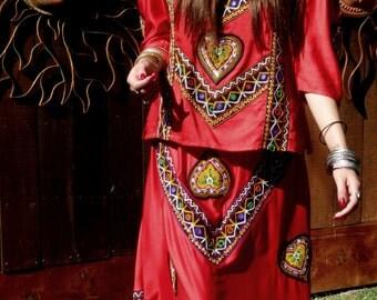 REDUCED, Vintage India Shisha Mirrored Embroidery Bouse/Skirt Set, Ethnic, Tribal, Gypsy, Bohemian, Folk, Costume, Festival Wear