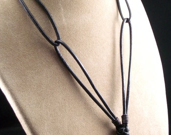Black Leather Necklace with Swarovski Crystal, Square, Bermuda Blue, Choker