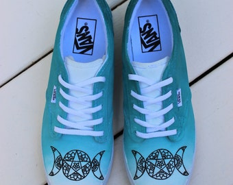 Triple Goddess / Moon Vans Ombré/ Gradient  Teal  - Custom Hand Painted