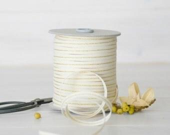 "Natural Cotton Ribbon with Gold - 5, 20 or 109 Yards - Wedding Ribbon - 1/4"" Wide - Mettalic Cotton Ribbon - DIY Weddings - Metallic Ribbons"