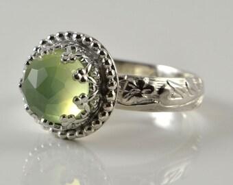 Prehnite Ring, Sterling Silver, Faceted Rose Cut Prehnite Stone in Crown Setting