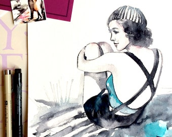Vintage Swimsuit Inspired Original Watercolor Painting - Lana Moes Art - Summer Forever - Beach Summer Illustration