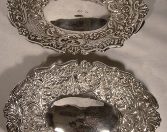 Antique English Sterling Silver Repousse Bowls 1895 WR Corke Pair