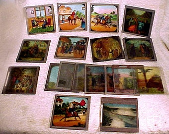 "Grouping of 17 Pictorial 3-1/4"" Magic Lantern Slides from 1900"