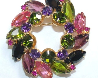 Vintage fruit salad Multi colored Rhinestone Wreath Pin Brooch