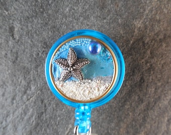 Starfish Retractable Badge Holder-Badge Reel-Id Badge Reel-I D Holder-Nurse ID Gift-Teacher ID Gift-Magnetic Badge Reel, Magnetic ID