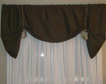 Window Valance, Tie Up Valance, Black and Tan Valance, Tassels, Stripe Valance