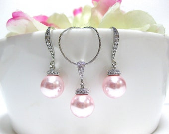 Blush Pink Pearl Earrings & Necklace Gift Set Swarovski Rosaline 10mm Pearl Earrings Wedding Jewelry Bridesmaid Gift  (NE029)