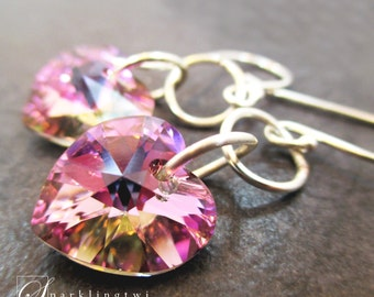 Pink Heart Earrings, Swarovski Crystal Earrings, Pink Earrings, Sterling Silver Earrings, Gift for Her, Swarovski Crystal Earrings, ALEXIS