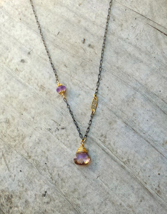 Ametrine Oxidized Necklace, Single Stone Necklace, Unique Jewelry Handmade Sundance Style Sterling Silver Gold Amethyst Necklace Vialove
