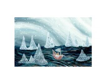 Fine Art Print-a ride into the arctic night