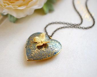 Golden Brass Heart Locket Necklace Heart Jewelry Heart Pedant Photo Locket Verdigris Patina Heart Mother's Day Gift Valentine's Day Gift