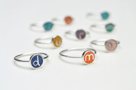 Initial Ring, Sterling Silver,  Personalized, Stacking, Custom, Color, Stackable, Modern, Contemporary