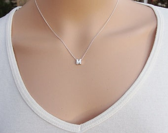 100% Sterling Silver Pendant Necklace, Silver Pendant Necklace, M Necklace , Initial Pendant Necklace, Initial Pendant