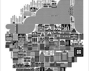 "Hamilton on 30 Oct. 1958 Skyway 24"" Square Silkscreened Art Print by Raymond Biesinger"