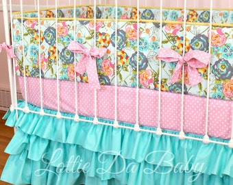 Custom Baby Girl Crib Bedding-  Lily Belle Turquoise