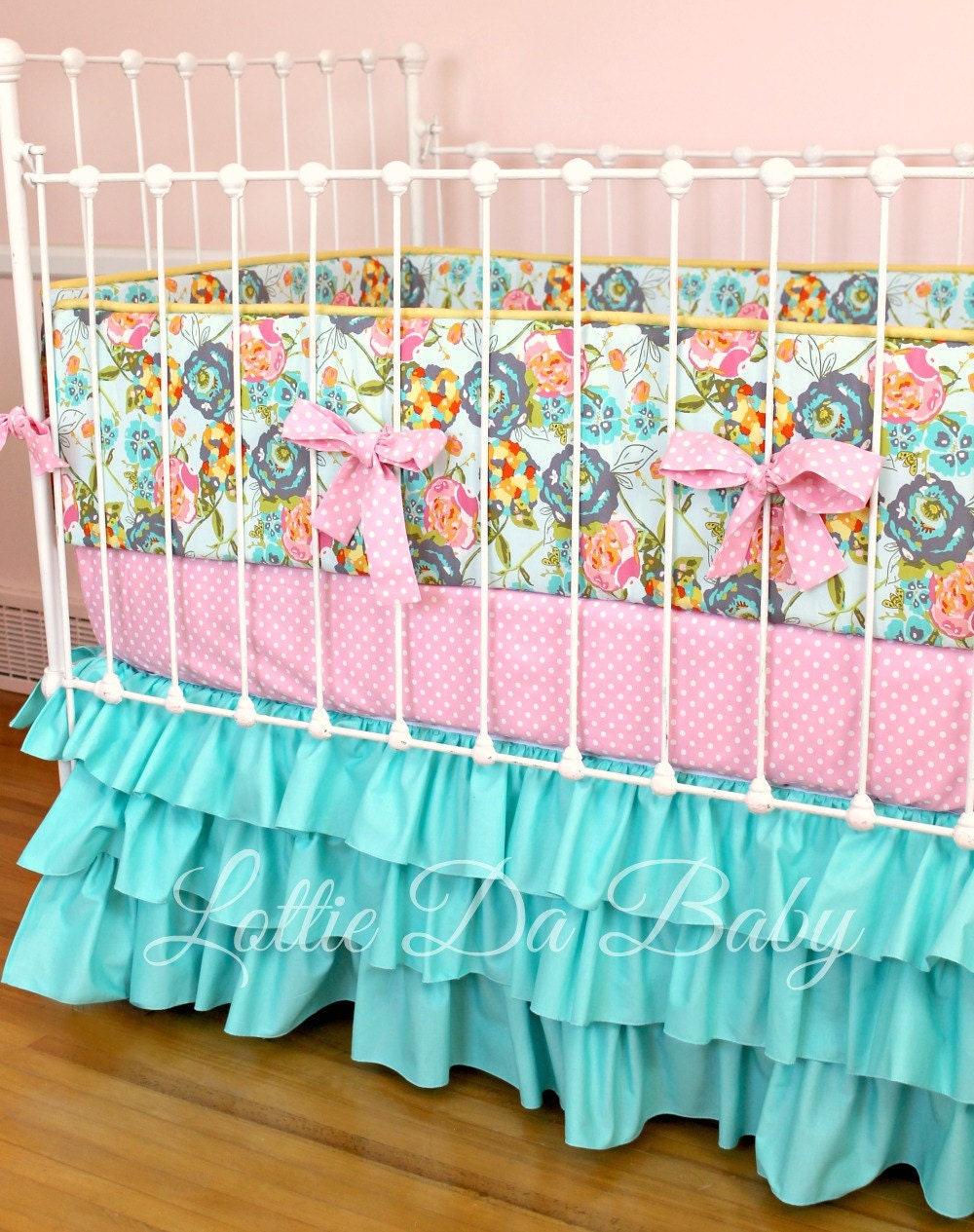 Custom Baby Girl Crib Bedding Lily Belle Turquoise
