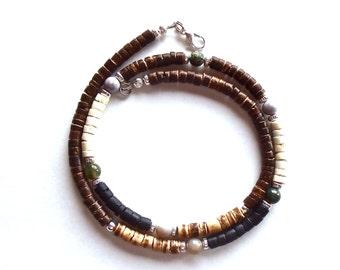 Multicolored Coconut Shell Necklace, Boho Mens Necklace, Earthy Jasper Jewelry, Bohemian Beaded Choker, Men's Beaded Necklace, 16 18 20 in