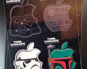 Think Dark Side - Star Wars / Mac logo mash-up Macbook iPhone custom full sheet sticker decal set (4 stickers per set)