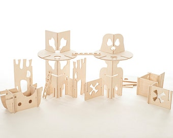 Pirate Play Set Natural Wood // Pirate Tower and Modular Walls Building Blocks DIY with this Montessori Inspired Toy Set