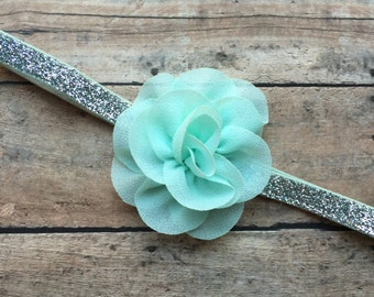 Baby Girl Headband, Mint Chiffon Flower on Silver Glitter Elastic Headband