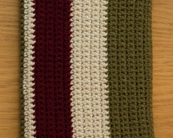 Handmade Crocheted Green, Red and Cream Striped Kindle / Ereader Sleeve Cover
