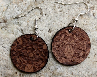 Damascus. Mahogany wood earrings are cut and engraved laser textured damask.