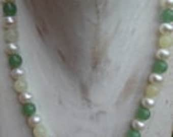 Beautiful combination: Pearl, jade, Aventurine