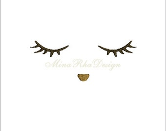 Doll Face Sleeping Face Embroidery Design  Instant Download