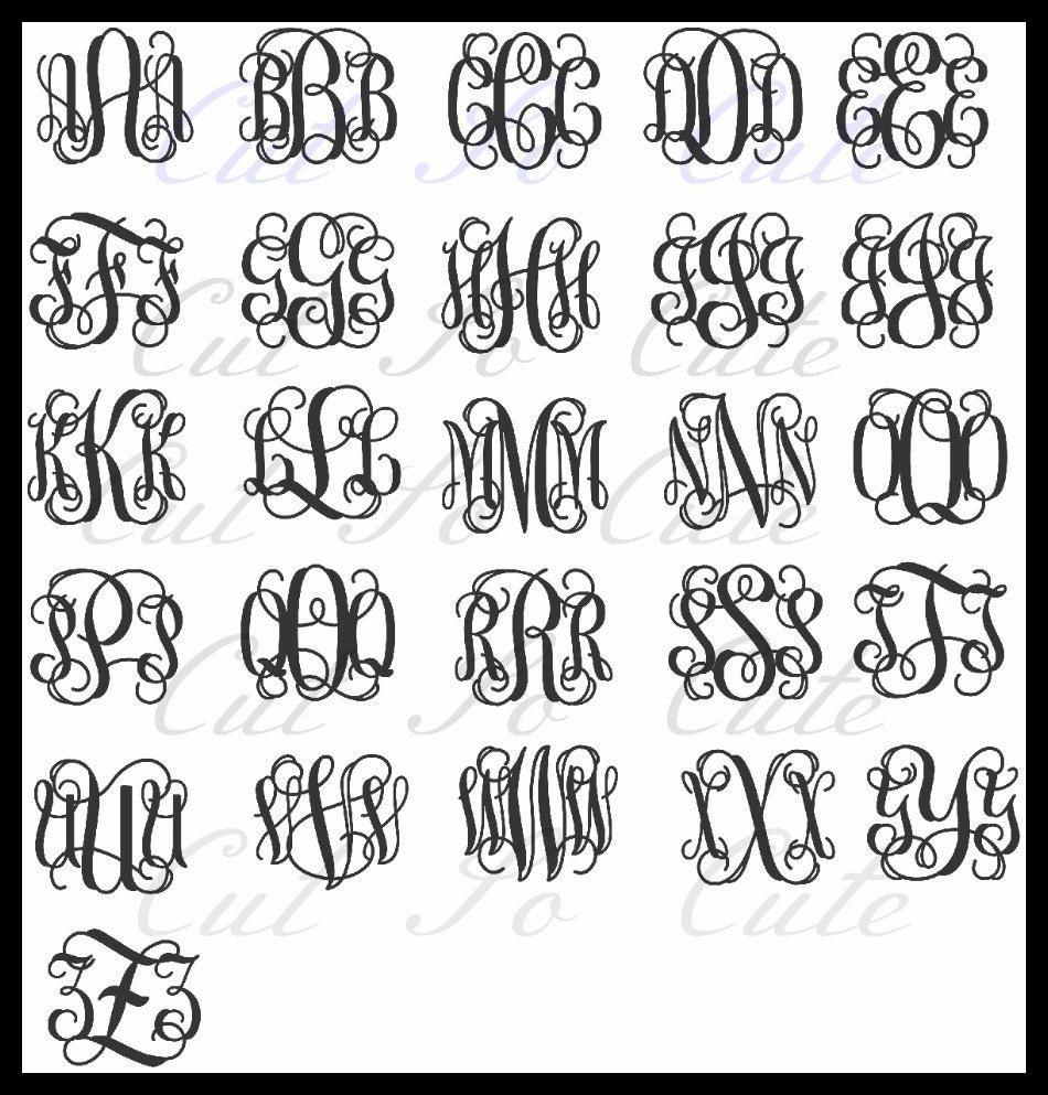 Vine Interlocking Intertwined Monogram DXF PNG SVG by CutSoCute
