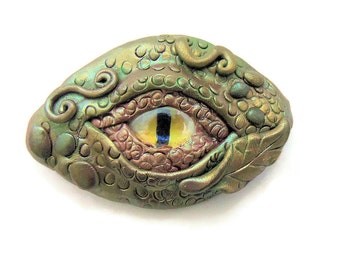 Polymer Clay Dragon's Eye Brooch - Green and Gold Dragon